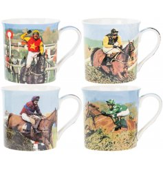 A set of 4 printed fine china mugs, each decorated with a Classical Horse Racing decal