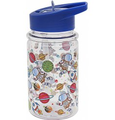Covered with a cute Spaceman themed decal, this blue toned drinks bottle is perfect for little ones