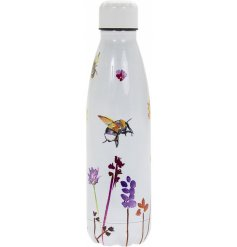 A sleek metal drinks bottle with a beautifully printed Busy Bee Garden themed decal