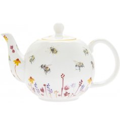 A smooth white Fine China Teapot with a beautifully printed Busy Bee Garden themed decal