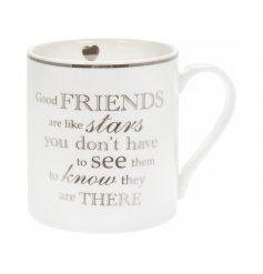 A sweet and simple White fine China Mug featuring an added silver scripted decal