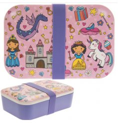 this little bamboo lunch box will be sure to entertain your little ones while they eat