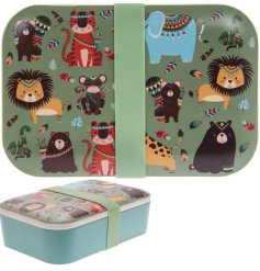 A quirky and colourful bamboo bento box with a charming Wild Jungle decal