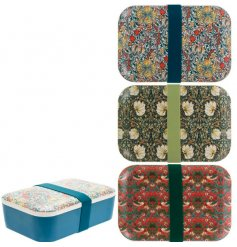 an assortment of bento boxes, each decorated with a William Morris decal