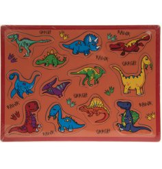 A wooden puzzle with an animated dinosaur theme.