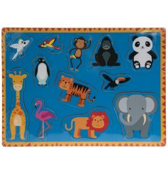 A animated zoo themed wooden puzzle with a variety of animals.