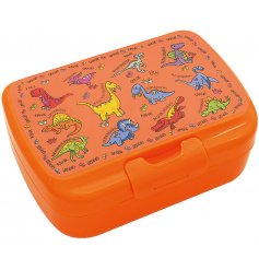this Dinosaur covered lunch box will be sure to keep your little ones entertained while they eat