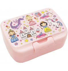 this princess covered lunch box will be sure to keep your little ones entertained while they eat