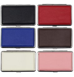 Assorted by their varied colours, this mix of Faux Leather card protector cases are perfect for on the go
