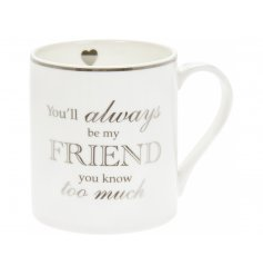 A fine china mug featuring a humorous scripted text decal