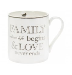 A charming little gift idea for any friend or family member, this fine china mug features a sleek look and scripted tex