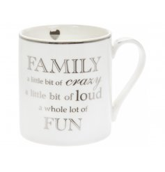 Whole Lot Of Fun Fine China Mug   A simple white fine china mug decorated with a silver scripted text decal