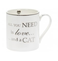 A silver scripted Fine China Mug with a popular sentimental quote