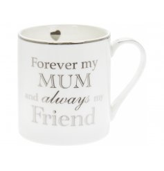 Perfect for gifting to any loved mum, this fine china mug features a silver scripted decal