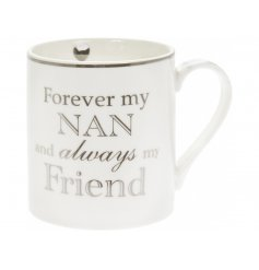 Perfect for gifting to any loved Grandma, this fine china mug features a silver scripted decal