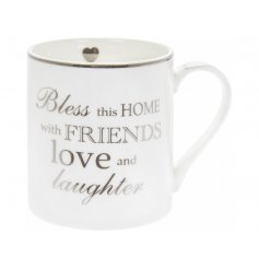 A sleek White Fine China Mug featuring a scripted silver text decal