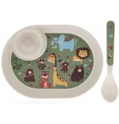Covered with a quirky and colourful Jungle pattern, this dining set contains all the essentials for little ones at tea