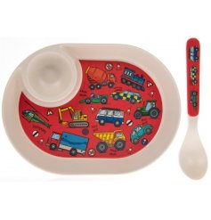 this Transport covered dinner set will be sure to keep your little ones entertained while they eat