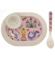 this princess covered egg plate and spoon will be sure to keep your little ones entertained while they eat
