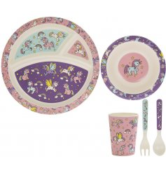 this unicorn covered set of bamboo dining pieces will be sure to keep your little ones entertained while they eat