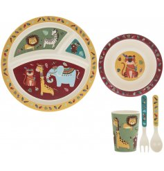 A quirky and colourful bamboo dinner set with a charming Wild Jungle decal
