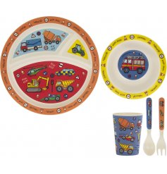 A quirky and colourful bamboo dinner set with a charming Vehicles decal