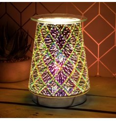A unique and beautiful lamp with oil burner/wax melt feature.