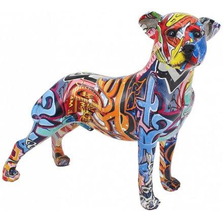Graffiti Art Staffordshire Bull Terrier, 33cm