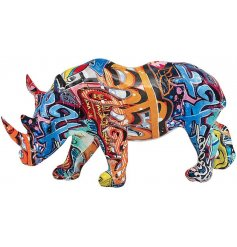 this ornamental Rhino figure will be sure to bring an added a pop of colour to any industrial themed room