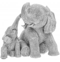 Add a touch of glamour to your home interior with this diamonte covered mother and baby elephant