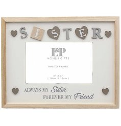 Decorated with Lettered squares, hearts and scripted text this Sentiments frame is sure to make any Sister smile