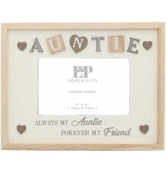 Featuring a sweetly scripted text decal and added accents, this natural wooden frame will place perfectly in any home