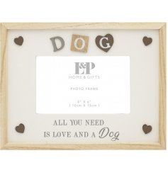 Featuring a sweetly scripted text decal and added accents, this natural wooden frame will place perfectly in pets home
