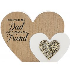 'Forever My Dad' Natural Toned Heart Plaque   Add this chic and sweet wooden heart block into any home space for a senti