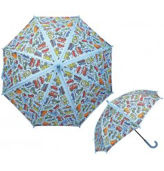 A quirky printed Childrens Umbrella with a fun colourful car decal!
