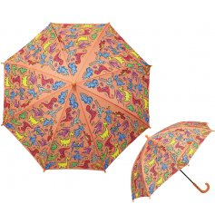 A quirky printed Childrens Umbrella with a roarsome dino decal!