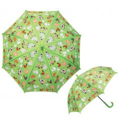 Covered with a bright green tone and farmyard inspired decal, this small umbrella is perfect for little ones!