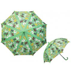 A quirky Green Umbrella covered with a cute Cats and Dogs printed theme