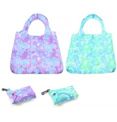 A mix of brightly coloured fold away shopping bags with added clips
