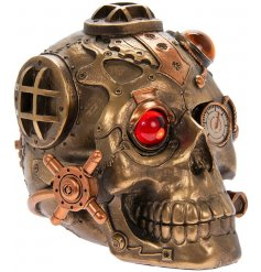 A Steampunk inspired Skull with added Cogs, Dials and Industrial elements