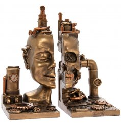 An incredible Steampunk inspired set of Bookends complete with added Cogs, Dials and Industrial elements