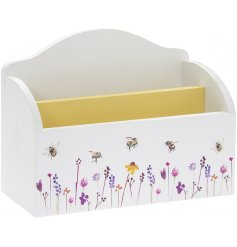 A smooth white Napkin Holder with a beautifully printed Busy Bee Garden themed decal