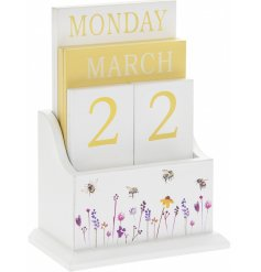 A smooth white perpetual calendar with a beautifully printed Busy Bee Garden themed decal