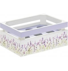 A charming little egg crate with a sweetly printed Lavender decal