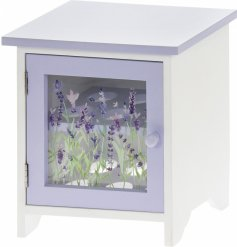 A small wooden box with a charming Lavender decal, suitable for holding up to 12 eggs