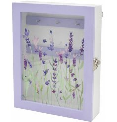 A small wooden box with a charming Lavender decal, suitable for holding spare keys in the home