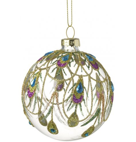 A stunning glass bauble decorated with a colourful gold and jewel coloured peacock feather glitter design.
