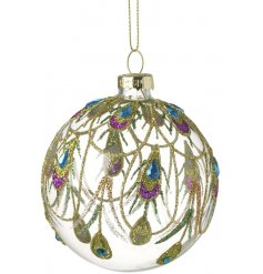 A glass bauble covered with glittery peacock decals and added blue gems