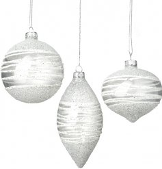 Add a sparkle to your Tree Decor at Christmas with this fine set of assorted shaped glass baubles