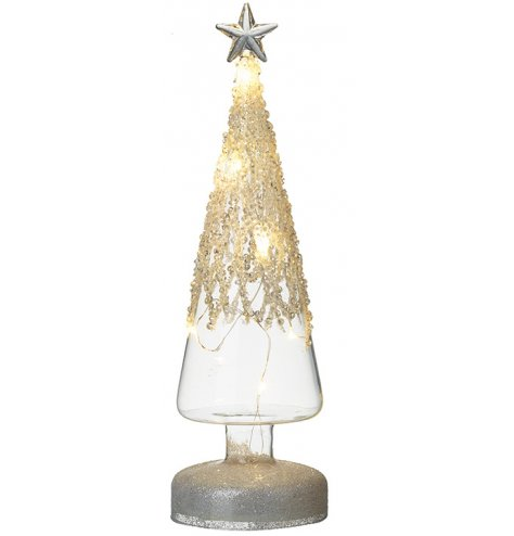 A stunning glass Christmas tree with LED lights Complete with cascading beads and a silver star topper.